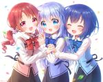 3girls :d ^_^ bangs black_skirt blue_bow blue_eyes blue_hair blue_neckwear blue_vest blush bow bowtie chimame-tai closed_eyes commentary confetti eyebrows_visible_through_hair facing_viewer fang girl_sandwich gochuumon_wa_usagi_desu_ka? hair_between_eyes hair_ornament hair_scrunchie highres holding_hands interlocked_fingers jouga_maya kafuu_chino long_hair long_sleeves looking_at_viewer low_twintails mozukun43 multiple_girls natsu_megumi open_mouth pink_vest rabbit_house_uniform red_bow red_eyes red_neckwear redhead sandwiched scrunchie shirt short_hair simple_background skirt smile twintails twitter_username vest white_background white_shirt x_hair_ornament