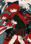 1girl abstract abstract_background bangs black_skirt bow capelet disembodied_head eye_beam feet_out_of_frame floating_head hair_bow hito_(nito563) holding_head long_sleeves multiple_heads pleated_skirt red_capelet redhead sekibanki short_hair skirt smile solo touhou
