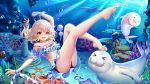 1girl bare_legs barefoot bikini bikini_bottom bikini_top blue_swimsuit brown_hair butterflyfish feet fish hair_ornament hairclip highres leg_up ocean ocean_bottom original red_eyes school_of_fish seal seaweed shark submerged swimming swimsuit yue_xiao_e