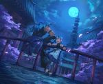1boy 1girl :d architecture black_pants blue_eyes blue_nails blue_skirt blue_sky blue_theme bracelet clouds earrings east_asian_architecture fang fingernails full_moon highres horns jewelry moon nail_polish night night_sky open_mouth original outdoors pants pointy_ears railing scenery shichigatsu skirt sky smile