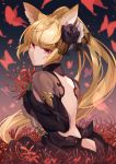 1girl absurdres ass_cutout backless_dress backless_outfit black_flower black_rose blonde_hair bug butterfly clothing_cutout dress erune flower granblue_fantasy hair_flower hair_ornament highres hizuki_miya insect long_hair pink_eyes ponytail rose spider_lily yuisis_(granblue_fantasy)