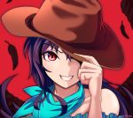 1girl arm_up artist_name bandana bare_shoulders blue_shirt brown_headwear collarbone commentary_request cowboy_hat eyebrows_visible_through_hair feathers grin hand_on_headwear hat hat_over_one_eye kurokoma_saki long_hair looking_at_viewer off-shoulder_shirt off_shoulder purple_hair red_background red_eyes shirt simple_background smile solo teeth torinosuke touhou upper_body very_long_hair wings
