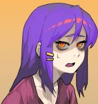 1girl blythe_(hcnone) d: fang gogalking hair_down hair_ornament hairclip long_hair looking_at_viewer open_mouth original purple_hair red_pupils red_shirt shirt skin_fang solo yellow_background yellow_eyes