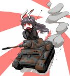 1girl animal_ears blush caterpillar_tracks chibi commentary_request gloves ground_vehicle jacket long_hair military military_vehicle motor_vehicle open_mouth panzerkampfwagen_ii purple_hair rabbit_ears red_eyes reisen_udongein_inaba smoke tank touhou world_of_tanks yaruku