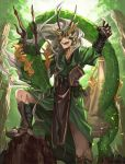 1boy :d black_gloves dragon eastern_dragon fangs fingerless_gloves fingernails gloves green_robe green_theme hand_up hands_up highres horns knee_up long_hair male_focus mask open_mouth original sandals sash shichigatsu smile solo tabard toenails white_hair
