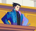1boy black_eyes black_hair blue_coat closed_mouth coat cosplay denaseey devil_may_cry devil_may_cry_3 devil_may_cry_4 gyakuten_saiban hair_slicked_back highres indoors katana male_focus naruhodou_ryuuichi open_clothes open_coat smile solo standing sword vergil vergil_(cosplay) weapon