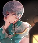 1boy ari_(bleum) bangs blurry_foreground closed_mouth hair_between_eyes head_rest lantern long_sleeves looking_at_viewer male_focus mikleo_(tales) shiny shiny_hair silver_hair smile solo tales_of_(series) tales_of_zestiria violet_eyes