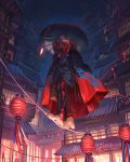 1girl architecture bandaged_leg bandages barefoot black_cloak building claw_(weapon) cloak clouds covered_mouth east_asian_architecture hat highres holding knee_pads kohari_(shichigatsu) lantern looking_at_viewer night night_sky one_eye_closed original outdoors paper_lantern purple_hair red_eyes red_headwear rice_hat rope_walking shichigatsu short_hair sky solo toenails walking weapon