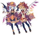 2girls adapted_costume ankle_cuffs bat_bowtie bat_wings black_legwear black_neckwear blonde_hair blue_hair blush bow brown_footwear candle candy center_frills commentary crystal demon_horns dress fangs flandre_scarlet food frills full_body hat hat_bow highres holding horns jack-o'-lantern lollipop long_hair mob_cap multiple_girls nikorashi-ka one_eye_closed open_mouth orange_dress orange_headwear pumpkin_hat red_bow red_eyes remilia_scarlet shoes short_hair siblings side_ponytail simple_background sisters sleeveless sleeveless_dress smile striped striped_bow swirl_lollipop thigh-highs touhou white_background wings wrist_cuffs