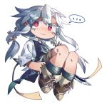 ... 1girl :| ankle_boots ari_(shichigatsu) boots braid brown_legwear brown_shorts chibi closed_mouth expressionless eyebrows_visible_through_hair full_body highres knife left-handed legs_folded long_hair looking_at_viewer original red_eyes ringed_eyes shichigatsu shirt shorts silver_hair simple_background socks solo speech_bubble spoken_ellipsis twin_braids twintails white_background white_shirt
