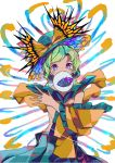 1girl absurdres bangs blue_eyes bow covered_mouth cowboy_shot detached_sleeves eyeball frilled_shirt frilled_sleeves frills glitch green_hair green_headwear green_skirt hat hat_bow heart heart_of_string highres komeiji_koishi long_hair looking_at_viewer multicolored multicolored_eyes neruzou pink_eyes rainbow_order shirt skirt solo third_eye touhou violet_eyes yellow_bow yellow_shirt yellow_sleeves