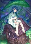 1girl barefoot blue_eyes blue_hair blue_sash closed_mouth flower grass grey_kimono highres holding holding_leaf hydrangea japanese_clothes kimono leaf leaf_umbrella long_hair long_sleeves looking_at_viewer obi original outdoors purple_flower rain sash shichigatsu shrine sitting solo tree twintails very_long_hair wide_sleeves yayoi_(shichigatsu)
