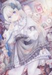 1girl bag blue_eyes blush bow colored_pencil_(medium) darkkanan dress dress_lift frilled_dress frilled_skirt frills graphite_(medium) handbag hat highres indoors kneeling lolita_fashion long_hair mail original pantyhose seiza shoes shoulder_bag sitting skirt skirt_lift solo traditional_media watercolor_(medium) white_hair white_legwear