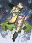 1girl ankle_boots birdcage black_footwear boots bow cage closed_mouth eyebrows_visible_through_hair green_eyes green_hair green_headwear green_skirt hair_between_eyes hat hat_bow high_heel_boots high_heels highres holding komeiji_koishi long_sleeves looking_at_viewer shichigatsu shirt skirt smile solo touhou yellow_bow yellow_shirt