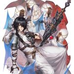 1girl 4boys ambiguous_red_liquid armor black_gloves black_hair blue_eyes cup gloves hair_over_one_eye half_gloves holding holding_cup hood hood_down knight liquid medium_hair multiple_boys original pauldrons shoulder_armor sword weapon wide_sleeves winter_(winter168883)