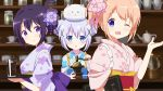3girls ;d =_= angora_rabbit animal animal_on_head blue_eyes blue_hair blue_kimono blush brown_hair chestnut_mouth closed_eyes closed_mouth coffee_grinder commentary_request cup derivative_work double_bun drinking_glass floral_print flower folded_ponytail gochuumon_wa_usagi_desu_ka? hair_flower hair_ornament holding holding_tray hoto_cocoa ice ice_cube indoors japanese_clothes kafuu_chino kimono looking_at_viewer menu multiple_girls obi on_head one_eye_closed open_mouth parted_lips pink_flower pink_kimono print_kimono purple_flower purple_hair purple_kimono rabbit sash short_sleeves smile tasuki tedeza_rize tippy_(gochiusa) tray upper_body violet_eyes wide_sleeves x_hair_ornament yutsuki_warabi