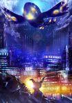 building cityscape commentary_request ekm gen_3_pokemon gen_7_pokemon highres kyogre legendary_pokemon light mimikyu no_humans pokemon pokemon_(creature) primal_kyogre sparkle water_drop