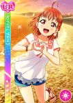 blush character_name love_live!_school_idol_festival love_live!_sunshine!! orange_hair red_eyes shirt short_hair smile takami_chika