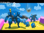 6+others black_eyes bottoms1237 copyright_name crossover fall_guy fall_guys falling gun highres holding holding_gun holding_weapon mecha multiple_others no_humans pun titanfall titanfall_2 walking weapon