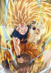 1boy aura blonde_hair blue_eyes bruise clenched_hand dougi dragon_ball dragon_ball_z electricity fighting_stance full_body highres injury long_hair looking_at_viewer male_focus mattari_illust muscle no_eyebrows open_mouth rock sash smile solo son_gokuu super_saiyan super_saiyan_3 torn_clothes very_long_hair