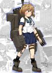 1girl adapted_turret bandaid bandaid_on_face blue_neckwear blue_sailor_collar blue_skirt brown_eyes brown_hair cannon commentary_request full_body highres kantai_collection machinery neckerchief oboro_(kantai_collection) pleated_skirt sailor_collar school_uniform senon serafuku short_hair skirt smokestack solo standing torpedo_launcher turret