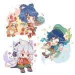 1girl 2boys alcohol apple artist_name black_hair blue_hair blush braid chibi closed_mouth crossed_legs cup drinking_glass eating english_commentary facial_scar flower food fruit full_body genshin_impact gouba_(genshin_impact) gradient_hair green_eyes grey_hair hair_flower hair_ornament lily_(flower) long_hair looking_at_viewer looking_to_the_side meat mootecky multicolored_hair multiple_boys one_eye_closed open_mouth razor_(genshin_impact) red_eyes scar scar_on_cheek short_hair sitting smile standing standing_on_one_leg tongue tongue_out venti_(genshin_impact) white_background white_flower wine wine_glass xiangling_(genshin_impact)