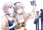 2boys 2girls akabane_kenji anastasia_(fate) anastasia_(idolmaster) blue_eyes cellphone color_connection cosplay doll earrings fate/grand_order fate_(series) food formal hair_color_connection hairband ice_cream ice_cream_cone idolmaster idolmaster_cinderella_girls jewelry kadoc_zemlupus long_hair multiple_boys multiple_girls namesake necktie phone producer producer_(cosplay) producer_(idolmaster) producer_(idolmaster_cinderella_girls_anime) seiyuu_connection self_shot short_hair smartphone suit trait_connection tsengyun