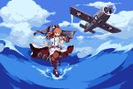 1girl aircraft airplane breast_pocket breasts brown_hair brown_legwear clouds day dress flight_deck holding kantai_collection large_breasts leg_up long_hair lowres open_mouth outdoors pixel_art pocket ponytail saratoga_(kantai_collection) short_sleeves side_ponytail sky solo thigh-highs warabin_(suteki_denpun) water white_dress