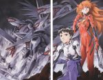 1boy 1girl absurdres black_hair blue_eyes bodysuit brown_eyes end_of_evangelion hair_over_one_eye highres holding ikari_shinji long_hair mass_production_eva mecha neon_genesis_evangelion official_art orange_hair plugsuit red_bodysuit sadamoto_yoshiyuki scan serious short_hair souryuu_asuka_langley standing