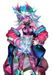 1girl :d bangs bare_shoulders belt breasts collar colorful dedeen fingernails green_eyes highres looking_at_viewer middle_finger multicolored_hair oni open_mouth original red_skin sharp_teeth shorts smile spiked_collar spikes spiky_hair teeth