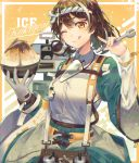 1girl ;) ;q absurdres arknights bangs bowl brown_eyes brown_hair commentary_request gloves hachimaki hands_up headband highres holding holding_bowl kikan_(kikanoe) looking_at_viewer magallan_(arknights) magallan_(shaved-ice_memories)_(arknights) multicolored_hair nejiri_hachimaki official_alternate_costume one_eye_closed revision shirt short_hair single_glove smile solo streaked_hair tongue tongue_out upper_body white_hair white_shirt