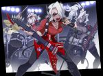 3girls armband bass_guitar belt black_horns black_jacket black_neckwear black_pants breasts commentary_request cross cross_necklace dark_skin demon_girl demon_horns demon_tail drum fingerless_gloves gloves guitar hair_over_one_eye helltaker holding holding_instrument holding_microphone horns instrument jacket jacket_on_shoulders jewelry judgement_(helltaker) justice_(helltaker) kk_aa_nn_ii large_breasts legs_apart long_hair looking_at_viewer microphone microphone_stand multiple_girls music necklace necktie open_clothes open_jacket pants piercing playing_instrument ponytail red_eyes red_gloves red_shirt sharp_teeth shirt short_hair smile standing sunglasses tail teeth white_eyes white_hair zdrada_(helltaker)