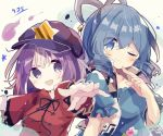 2girls bangs black_neckwear black_ribbon blue_dress blue_hair breasts cabbie_hat dated dress drill_locks eyebrows_visible_through_hair eyes_visible_through_hair flower hagoromo hair_ornament hair_rings hair_stick hat jiangshi kaku_seiga lace-trimmed_sleeves lace_trim medium_breasts medium_hair mina_(sio0616) miyako_yoshika multiple_girls ofuda one_eye_closed open_mouth outstretched_arms popped_collar puffy_short_sleeves puffy_sleeves purple_hair purple_headwear red_shirt ribbon shawl shirt short_hair short_sleeves smile star_(symbol) touhou upper_body vest violet_eyes white_vest wide_sleeves zombie_pose