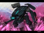bottoms1237 close-up crystal highres looking_ahead mecha missile_pod no_humans open_hands original science_fiction solo walking