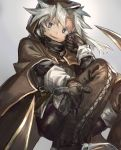 1girl bad_id bad_pixiv_id black_eyes black_gloves brown_cloak brown_hood brown_pants cloak fangs gloves gradient gradient_background grey_background grey_hair highres hood hood_up hooded_cloak looking_at_viewer open_hand open_mouth original outstretched_arm outstretched_hand pants shichigatsu silver_hair simple_background smile solo squatting