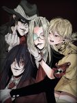 2boys 2girls alucard_(hellsing) armband bandana bangs beige_legwear black_background black_coat black_hair black_headwear blazer blonde_hair blue_eyes brown_hair cigar cigarette coat collared_shirt commentary_request cowboy_hat fangs formal gloves hair_between_eyes hand_on_another's_chest hand_on_another's_face hat hellsing highres integra_hellsing ippei_(2omg072) jacket lens long_sleeves looking_at_another looking_at_viewer medium_hair middle_finger multiple_boys multiple_girls necktie pip_bernardotte platinum_blonde_hair police police_uniform red_bandana red_eyes red_jacket red_neckwear round_eyewear seras_victoria shaded_face shirt short_hair short_sleeves smile suit teeth thigh-highs uniform upper_body white_gloves white_shirt zettai_ryouiki