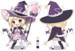 1girl :d animal_ear_fluff animal_ears argyle argyle_dress bangs black_cape black_footwear black_legwear blonde_hair blush bow cape cat_ears cat_girl cat_tail chibi color_guide commentary_request dress ears_through_headwear eyebrows_visible_through_hair gloves hat holding holding_staff long_hair looking_at_viewer lumia_saga mauve mismatched_legwear multiple_views open_mouth purple_background purple_dress purple_gloves purple_headwear shadow shoes smile staff standing striped striped_bow striped_legwear tail tail_bow tail_raised thigh-highs twintails upper_teeth vertical-striped_legwear vertical_stripes violet_eyes white_background white_legwear witch_hat