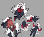 1boy 3girls :d animal_ears apron arm_garter armband black_apron black_gloves black_hair black_legwear black_neckwear black_pants black_suit black_tail black_vest breasts cerberus_(helltaker) closed_eyes collared_shirt commentary_request cooking demon_girl demon_tail dog_ears dog_girl fang formal full_body geee529 gloves grey_background helltaker helltaker_(character) highres long_hair looking_at_viewer low-tied_long_hair matching_outfit multiple_girls necktie neckwear open_mouth pants red_eyes red_shirt shirt short_hair siblings silver_hair simple_background sisters sleeping small_breasts smile standing suit sweat sweatdrop tail triplets very_long_hair vest waistcoat white_hair white_pants