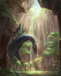 1girl bad_id bad_pixiv_id canyon cape cliff day dragon grass helmet highres horned_helmet original outdoors petting plant red_eyes rock scenery shichigatsu sunlight tree yellow_cape