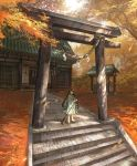 1girl autumn bad_id bad_pixiv_id broom closed_mouth dappled_sunlight day green_hair green_kimono highres japanese_clothes jitome kimono long_hair looking_at_viewer nature obi orange_eyes original outdoors path rope sandals sash scenery shichigatsu shide shimenawa shrine solo stairs standing stone_stairs stone_torii stone_walkway sunlight torii tree tree_shade twintails very_long_hair yayoi_(shichigatsu)