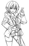 1girl bangs collarbone eyebrows_visible_through_hair greyscale grin gun hair_between_eyes hand_up highres jacket long_sleeves looking_at_viewer monochrome ndtwofives open_clothes open_jacket original pointy_ears shirt short_hair short_shorts shorts simple_background smile solo v weapon weapon_request white_background