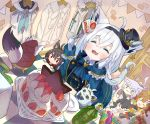 5girls :3 ahoge animal_ear_fluff animal_ears ascot bangs black_hair blue_jacket blue_neckwear bone_hair_ornament bottle braid braided_ponytail brown_hair cake cat_ears cat_girl cat_tail chibi closed_eyes clothes_hanger commentary_request dog_ears dog_girl door earrings eating eyebrows_visible_through_hair food fork fox_ears fox_girl fox_tail fur-trimmed_jacket fur_trim gift gloves hair_between_eyes hair_ornament hairclip hand_on_own_cheek hat highres holding holding_fork hololive hololive_gamers indoors inugami_korone jacket jewelry kurokami_fubuki looking_at_another lying mini_hat multicolored_hair multiple_girls nekomata_okayu on_stomach ookami_mio open_mouth oruyanke_(shirakami_fubuki) plate purple_hair redhead shirakami_fubuki shirt sidelocks single_braid tail two-tone_hair white_gloves white_hair white_hoodie white_jacket white_shirt wolf_ears wolf_girl yunra665
