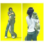 1boy animal animal_focus black_eyes black_hair blue_pants border crocodile crocodilian highres holding holding_animal long_sleeves looking_at_viewer medium_hair multiple_views nishimawari_kouro original pants shirt short_sleeves simple_background slit_pupils white_border white_shirt yellow_background