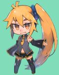 1girl ahoge akita_neru aqua_background bare_shoulders black_legwear black_skirt black_sleeves blonde_hair chibi commentary detached_sleeves fang full_body grey_shirt guemi_(ba11f0rm3) hair_tie highres light_smile looking_at_viewer midriff midriff_cutout miniskirt navel necktie open_mouth pleated_skirt ponytail shiny shiny_clothes shirt short_hair shoulder_tattoo side_ponytail skin_fang skirt sleeveless sleeveless_shirt sleeves_past_fingers sleeves_past_wrists solo tattoo thick_eyebrows thigh-highs very_short_hair vocaloid yellow_eyes yellow_neckwear zettai_ryouiki