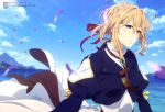 1girl absurdres bangs blonde_hair blue_eyes blue_jacket blue_sky brooch closed_mouth clouds cravat cropped_jacket day dress eyebrows_visible_through_hair green_brooch hair_between_eyes hair_intakes hair_ribbon highres ishidate_taichi jacket jewelry juliet_sleeves kyoto_animation lips long_sleeves looking_at_viewer medium_hair mountainous_horizon ocean official_art outdoors petals puffy_sleeves red_ribbon ribbon sky smile solo standing strap upper_body violet_evergarden violet_evergarden_(character) white_neckwear