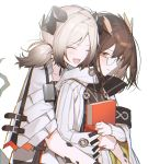 2girls :d ^_^ animal_ears arknights bangs book brown_hair closed_eyes dragon_horns dress glasses hair_between_eyes highres holding holding_book horns hug ifrit_(arknights) jacket long_sleeves looking_at_viewer low_twintails medium_hair multiple_girls open_mouth orange_eyes owl_ears rhine_lab_logo shirt short_hair short_twintails silence_(arknights) silver_hair smile twintails