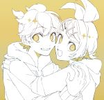 1boy 1girl bow brother_and_sister cheek-to-cheek eiku grin hair_bow hair_ornament hairclip hood hoodie hug kagamine_len kagamine_rin looking_at_viewer looking_back monochrome open_mouth short_hair short_ponytail siblings sketch smile twins vocaloid yellow_background yellow_eyes