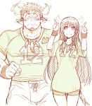 1boy 1girl animal_ears bara blush chest cow_ears facial_hair forked_eyebrows highres horns looking_at_another master_2_(tokyo_houkago_summoners) monochrome muscle short_hair shorts sketch smile sportswear thick_eyebrows tokyo_houkago_summoners wakan_tanka white_background yakisoba_ohmori