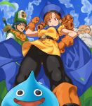 1girl 2boys absurdres alena_(dq4) bangs black_legwear blue_cape blue_headwear blue_sky breasts brey cape clift closed_mouth clouds curly_hair day dragon_quest dragon_quest_iv dress earrings from_below gloves grass hand_on_hip hat highres jewelry long_hair looking_at_viewer looking_down multiple_boys orange_footwear orange_gloves orange_hair outdoors pantyhose pretty-purin720 red_eyes short_dress short_sleeves sky slime_(dragon_quest) small_breasts smile upskirt yellow_dress