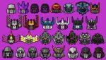 absurdres art_likes_robots beast_machines beast_wars decepticon english_commentary frown galvatron head_only highres mecha megatron megatron_(beast_wars) megatron_(idw) megatron_(prime) multiple_persona no_humans open_mouth optimal_megatron pixel_art purple_background red_eyes the_transformers_(idw) transformers transformers:_age_of_extinction transformers:_dark_of_the_moon transformers:_fall_of_cybertron transformers:_revenge_of_the_fallen transformers:_the_last_knight transformers:_war_for_cybertron transformers_(live_action) transformers_animated transformers_armada transformers_car_robots transformers_cybertron transformers_energon transformers_prime